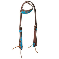 Weaver Wingtip Sliding Ear Headstall, Rich Brown/Turquoise