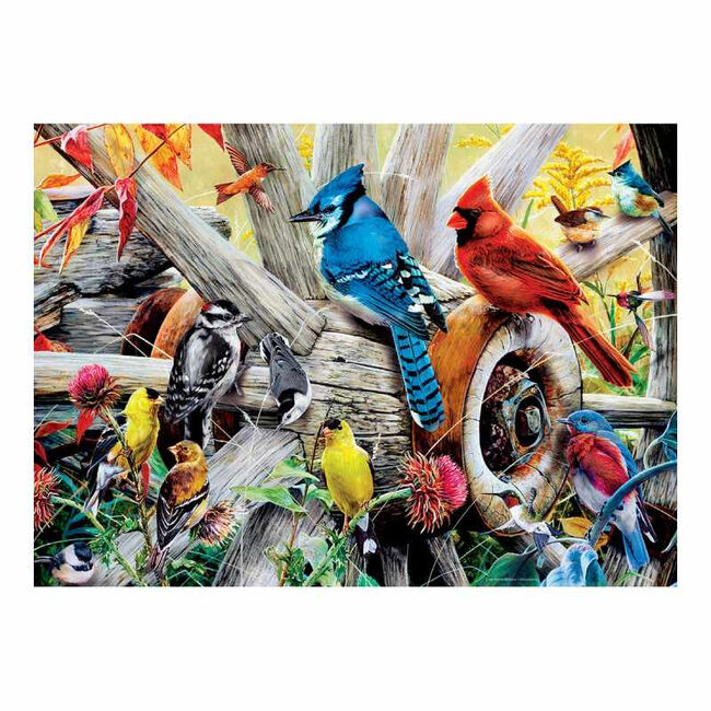"Audubon Linen Textured Puzzle - ""Backyard Birds"" image number null"