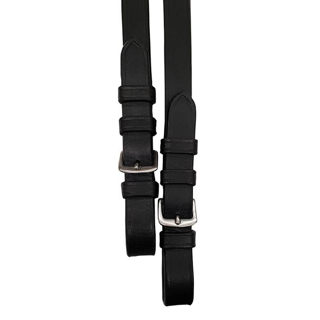 """Bobby's English Tack Flat Leather Reins With Stops-Black-5/8""""-Warmblood-Buckles image number null"""