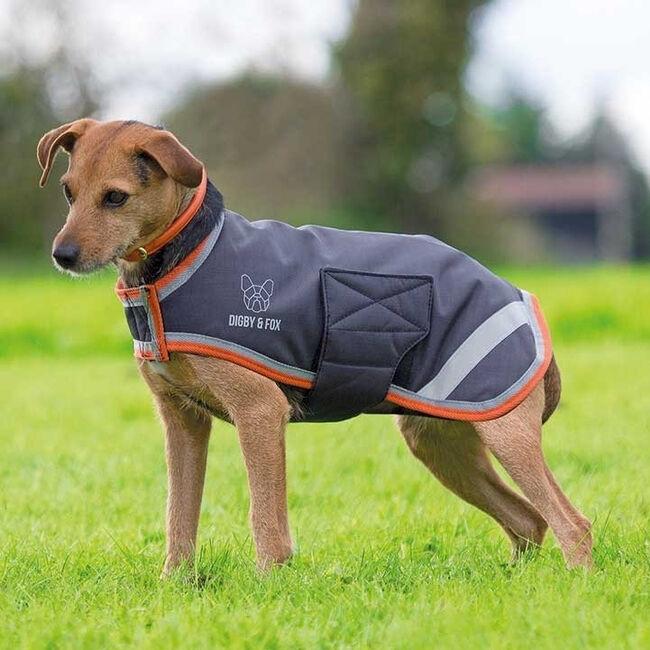 Shires Waterproof Dog Coat Black Orange image number null