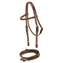 Tory Leather Pony Brow Band Headstall and Reins