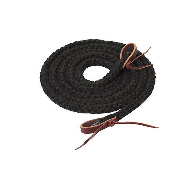 Weaver Leather Silvertip Hollow Braid Trail Reins - Black image number null