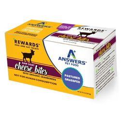 Answers Pet Food Rewards Raw Goat Cheese Treats with Organic Cranberries for Dogs & Cats