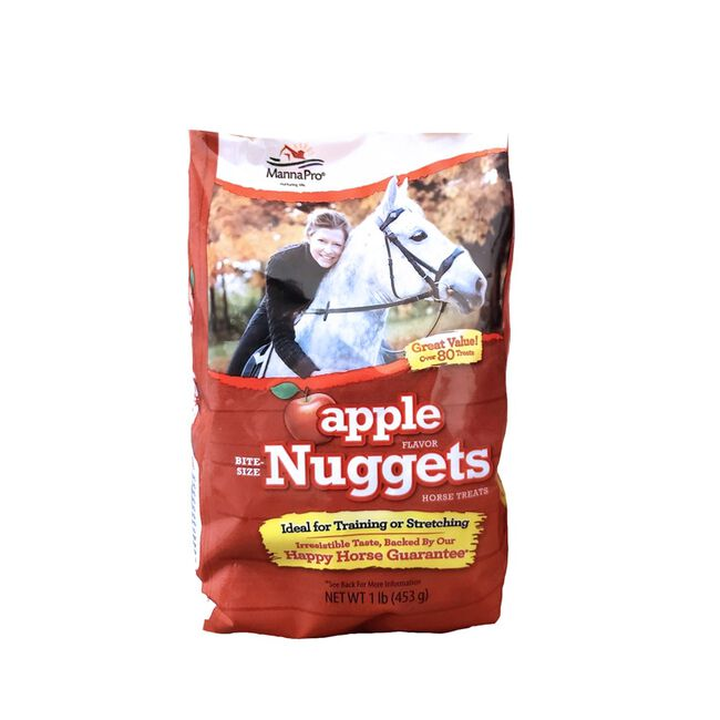Manna Pro Apple Flavor Bite Sized Nuggets Horse Treats - 1lb Bag image number null