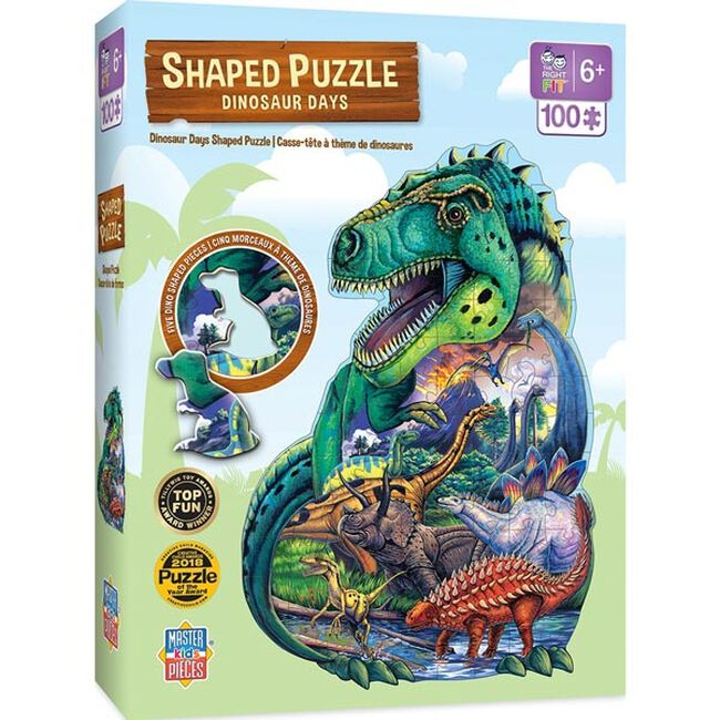 """""""Dinosaur Days"""" 100 Piece Shaped Puzzle image number null"""