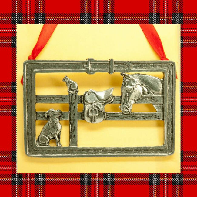 Loriece Paddock Pals Pewter Christmas Ornament image number null