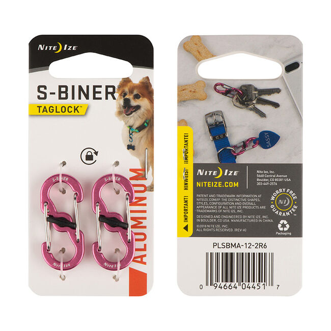 NiteIze S-Biner Taglock Aluminum 2pack - Pink image number null
