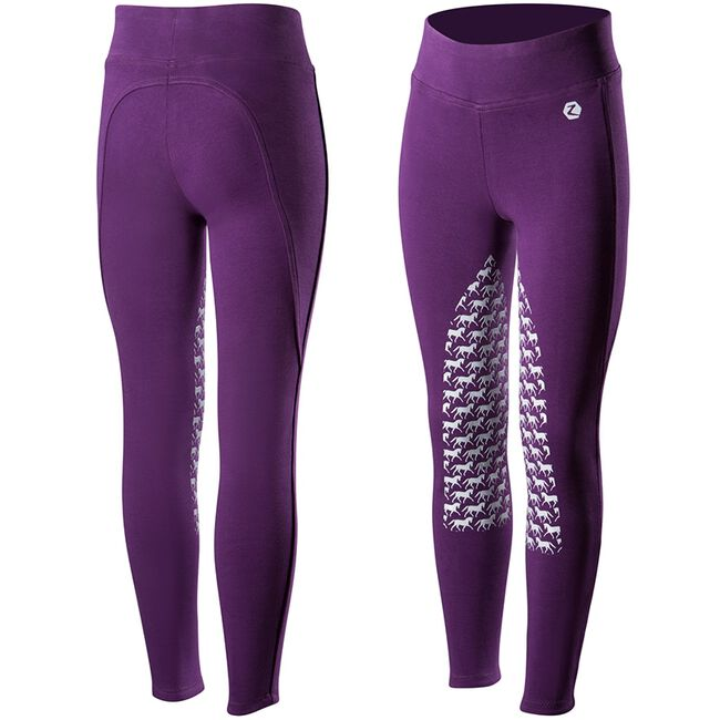 Horze Active Kids Silicone Horse Grip Tights - Sultry Violet image number null