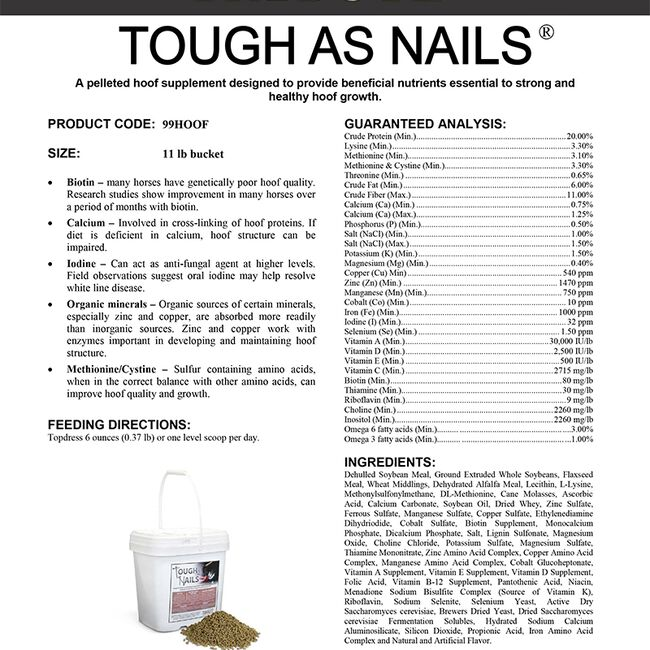 Tribute Tough As Nails Hoof Supplement - 11lb image number null