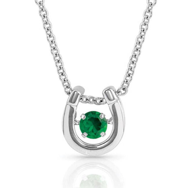 Montana Silversmiths Dancing Birthstone Horseshoe Necklace - May image number null