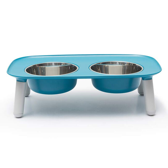 Messy Mutts Silicone Double Feeder Elevated Bowl - Gray image number null