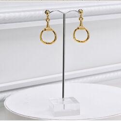Zinc Alloy Drop Hoop Earrings, Gold-Tone