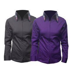 RHC Equestrian Ladies Jeweled Collar Zip Show Shirt