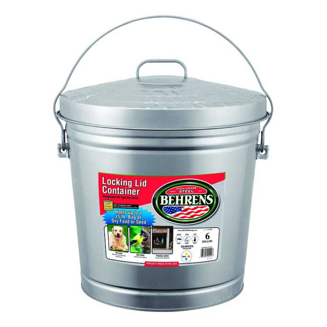 Behren's 6-Gallon Galvanized Steel Garbage Can with Lid image number null