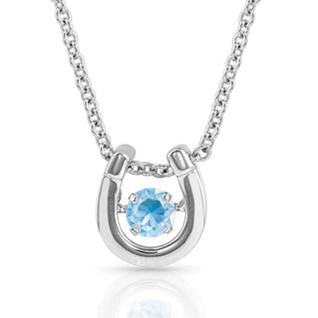 Montana Silversmiths Dancing Birthstone Horseshoe Necklace - March image number null