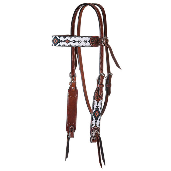 Circle Y Infinity Bead Browband Headstall - Green Diamond image number null