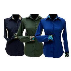 RHC Equestrian Ladies Microfiber Button Down Show Shirt With Contrast Trim