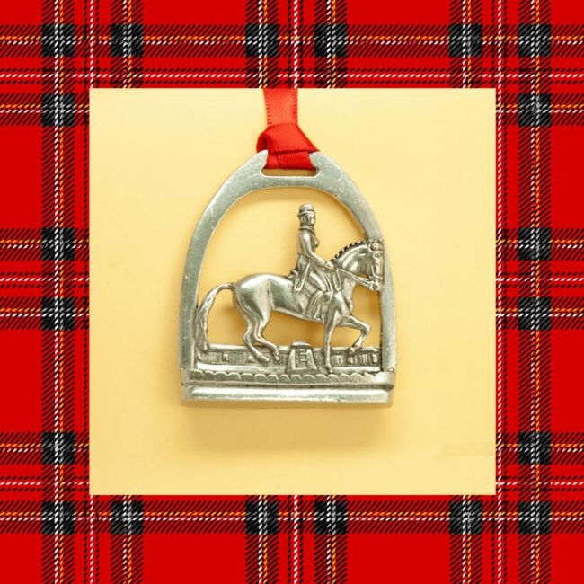 Loriece Crystal Dressage Horse Pewter Christmas Ornament image number null