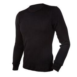 Janus Men's Black Wool Long Sleeve Shirt