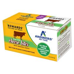 Answers Pet Food Rewards Raw Cow Cheese Treats with Organic Garlic for Dogs & Cats