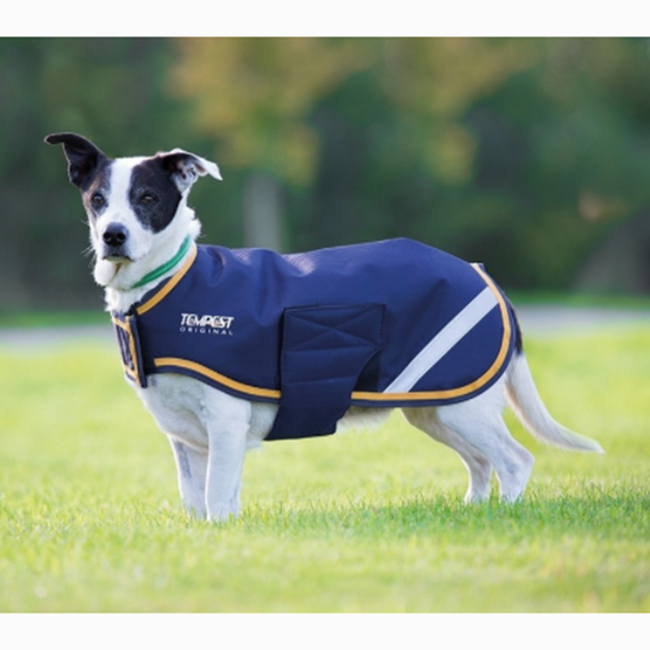 Shires Waterproof Dog Coat  - Navy Yellow image number null