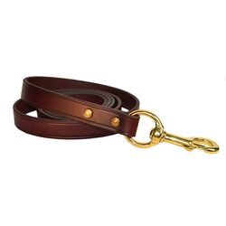 Perri's Havana Leather Lead with Solid Brass Snap