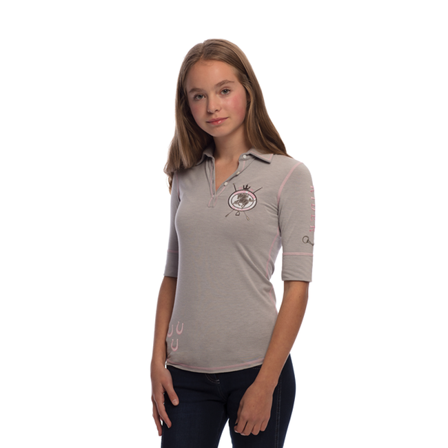 Goode Rider Girls Happy Polo - Heather Grey image number null