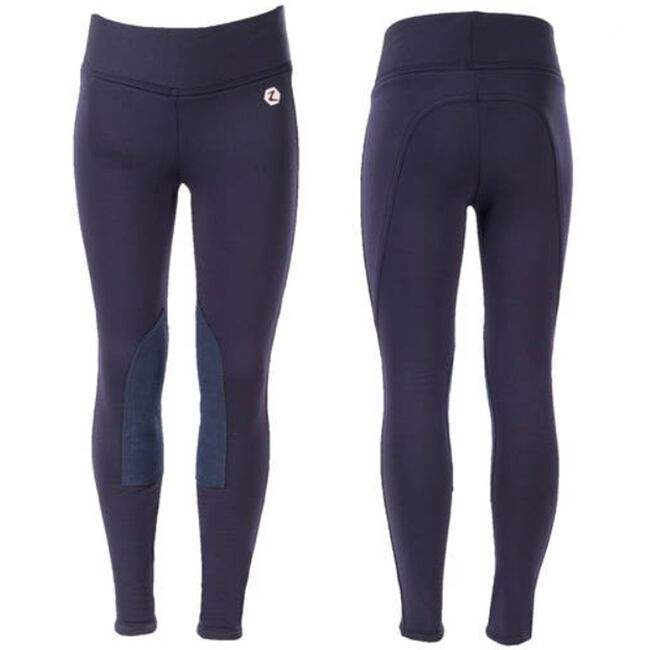 Horze Active Kids' Knee-Patch Winter Tights-Navy image number null