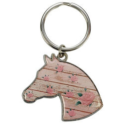 Kelley Equestrian Horse and Roses Keychain
