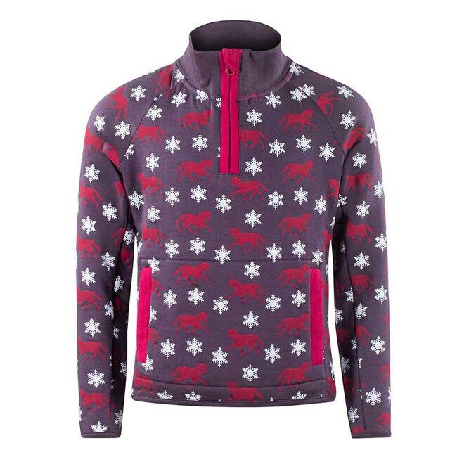 Horze Cory Kid's Print Sweatshirt-Plum Perfect image number null