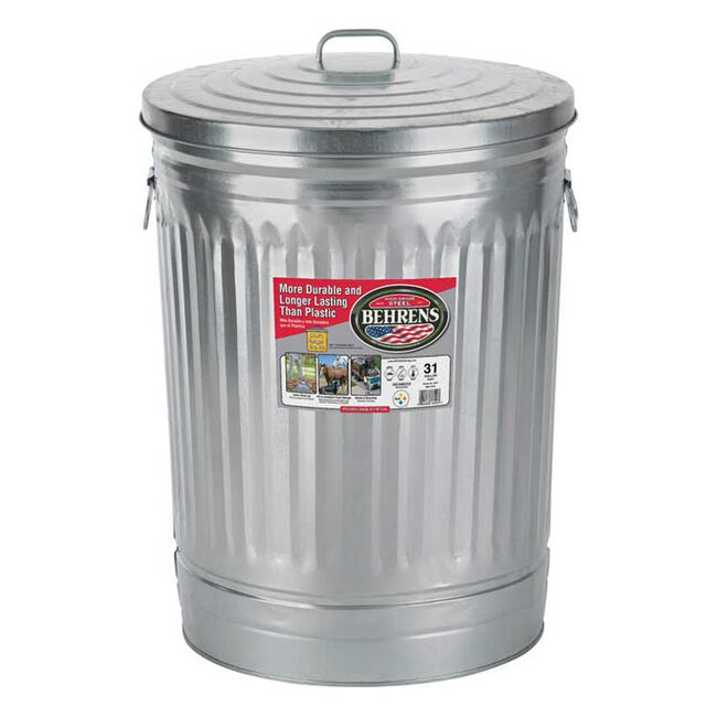 Behren's 31-Gallon Galvanized Steel Garbage Can with Lid image number null