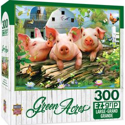"Green Acres EZ Grip Linen Textured Puzzle - ""Three Lil Pigs"""